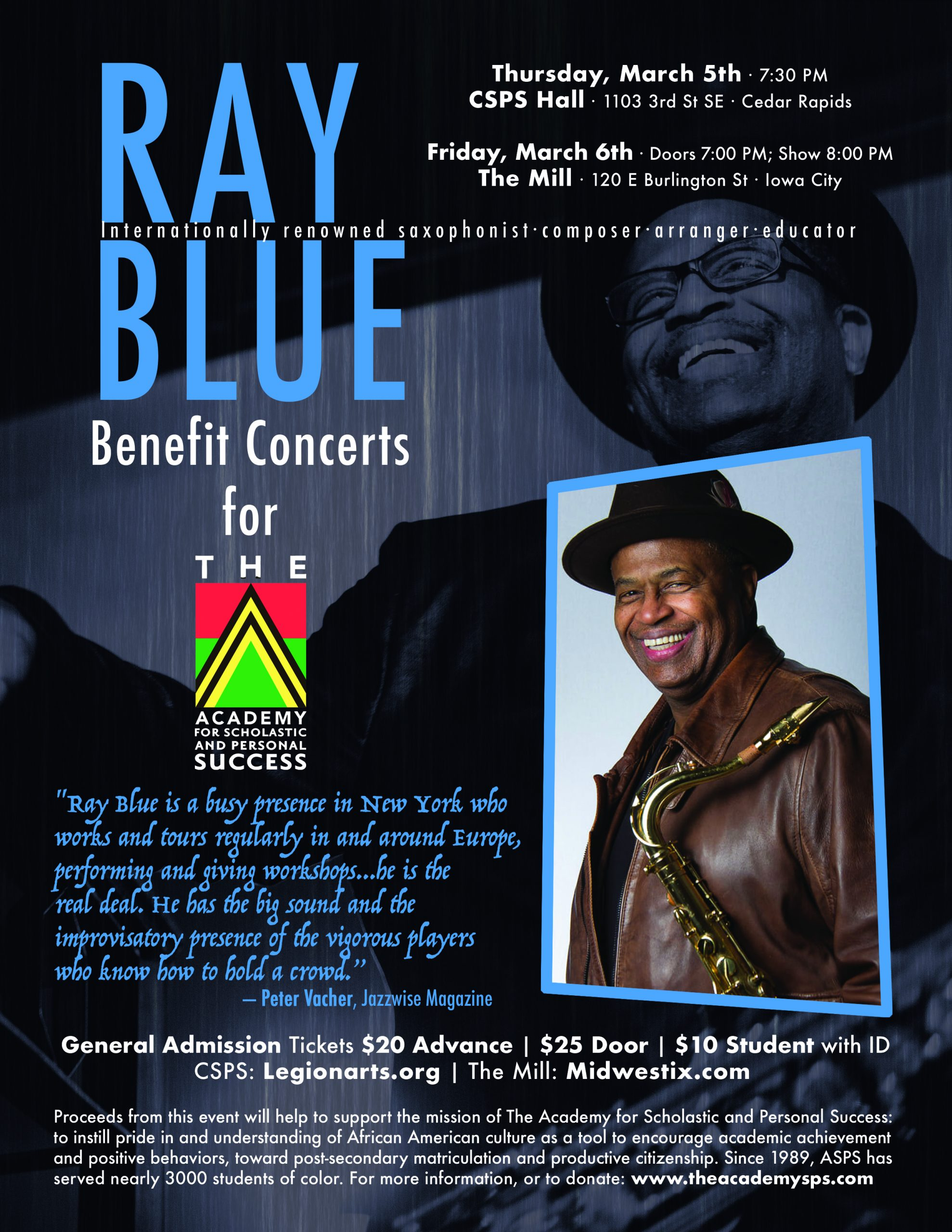 Academy for Scholastic and Personal Success Iowa Who We Are Ray Blue Fundraiser Concerts 2020