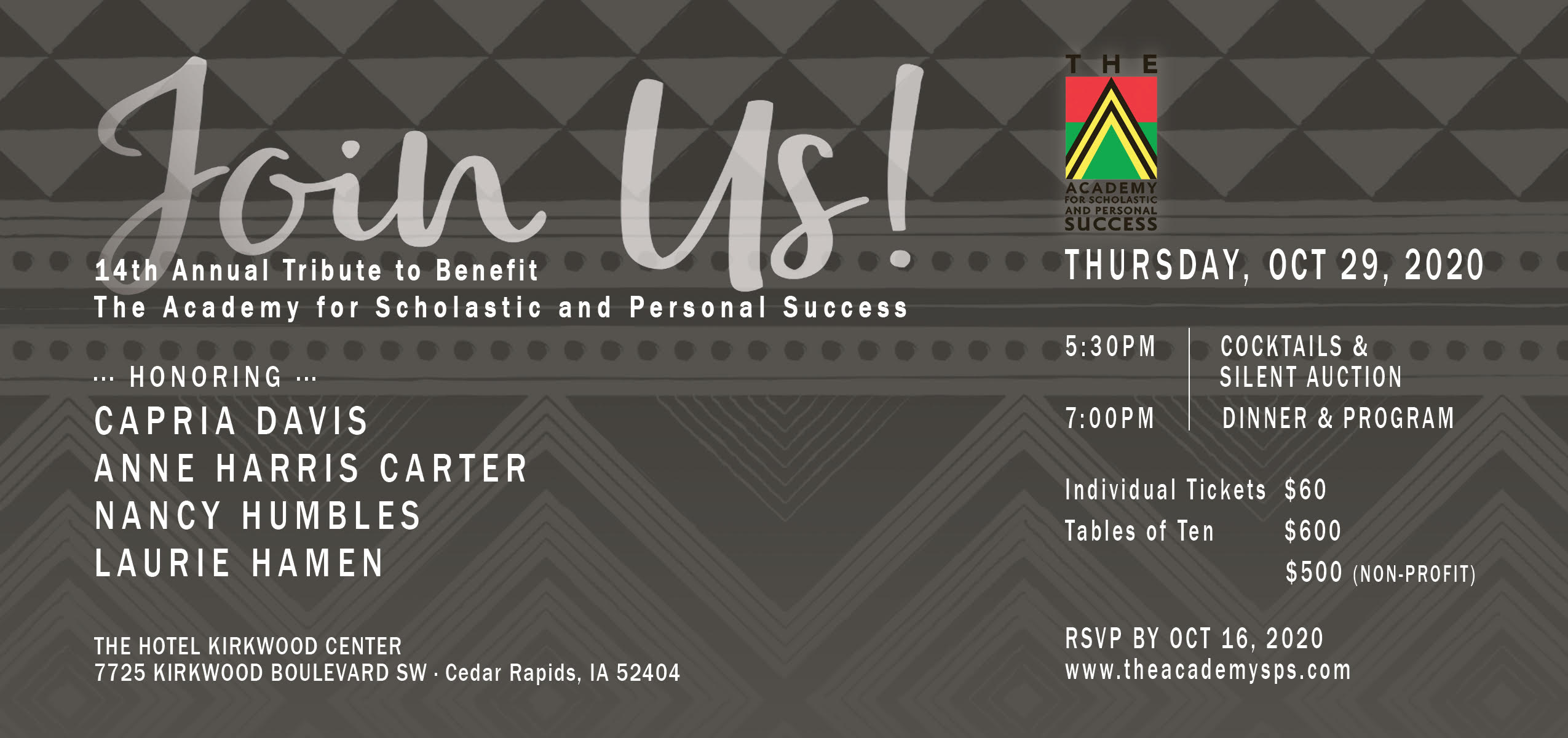 The Academy SPS 14th Annual Tribute Invitation