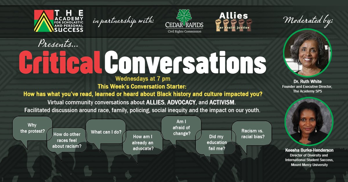 Academy for Scholastic and Personal Success Iowa September 16 2020 Critical Conversations
