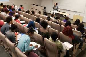 Summer Session Mt Mercy University. Students listening to speaker, Flora Williams (ASPS Board Member)