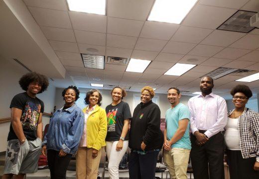 2018 Summer Session at Mt Mercy University. (L-R) John Ross & Alexia Bolden (ASPS Intern & Alumni), Dr. Ruth White (Founder/Exec Director), Flora Williams (Parent Volunteer & ASPS Board Member), Charrisse Cox (ASPS Summer Assistant & Expansion Director), Amad Gause (ASPS Intern & Alumni), Patrick O'Ray (ASPS Summer Teacher), and Chanelle Thomas (ASPS Summer Teacher & Board Member)