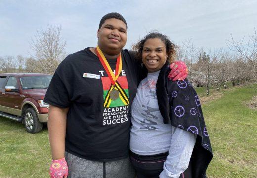2021 Plant Your Dreams at Big Apple Orchard (Mt. Vernon, IA). Cameron Davis (2020 ASPS Graduate) & his mom, Christina Ross.